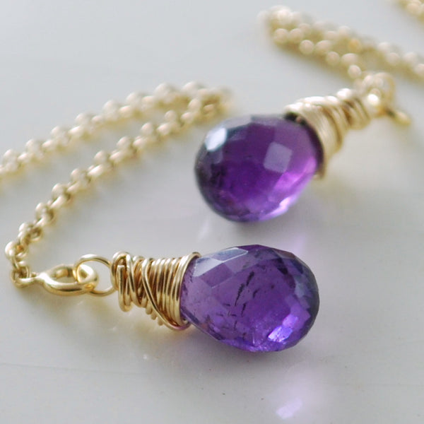Purple Amethyst Threader Earrings in Gold or Silver