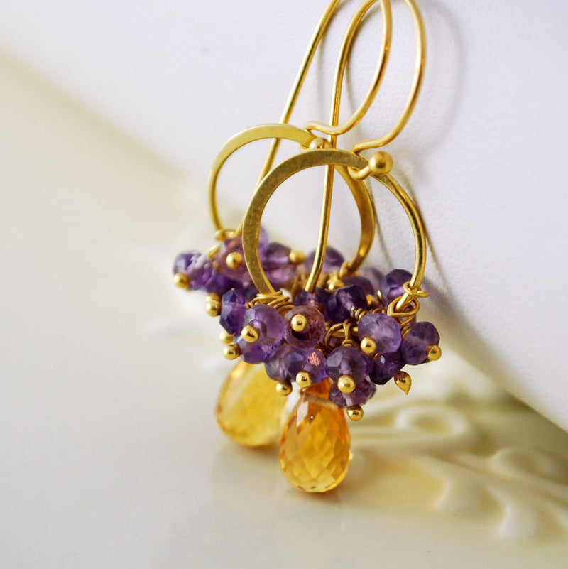 Citrine Earrings in Gold with Amethyst Clusters