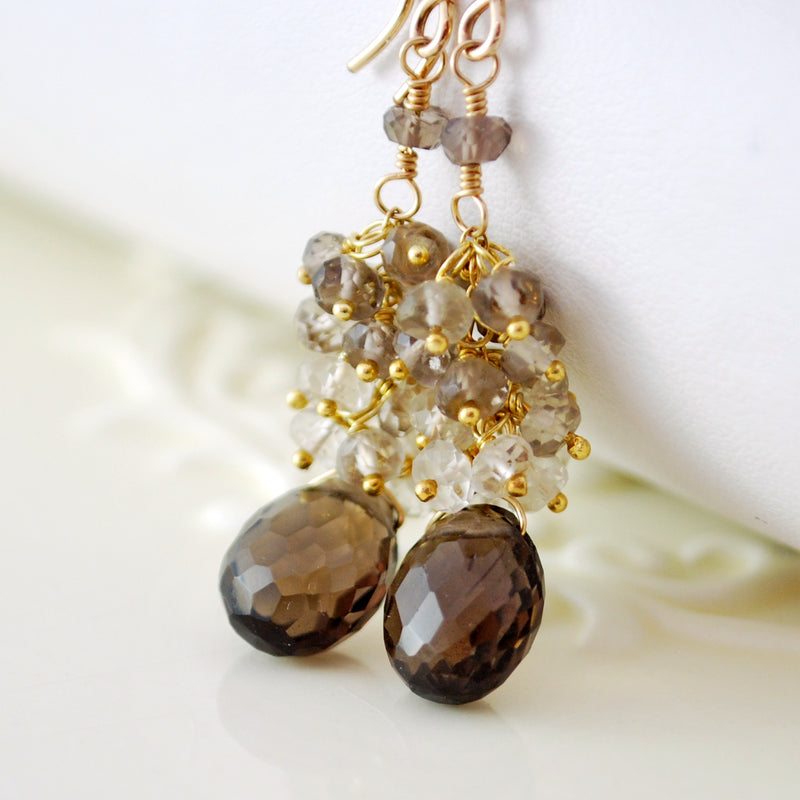 Long Smoky Quartz Cluster Earrings in Gold or Silver