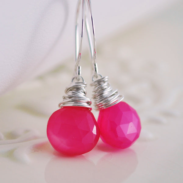 Hot Pink Chalcedony Earrings in Sterling Silver