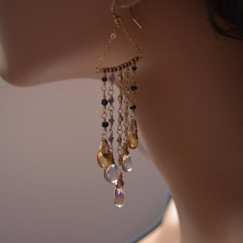Citrine and Ametrine Statement Earrings in Gold