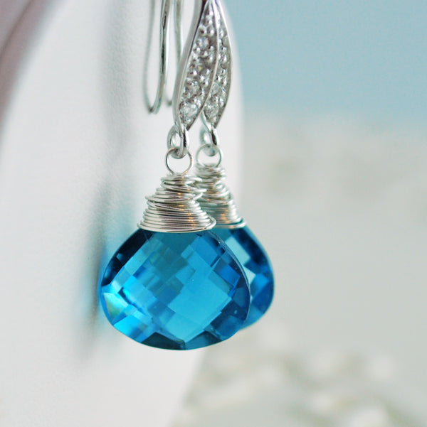 Bridal Earrings with London Blue Quartz - Blue Ice