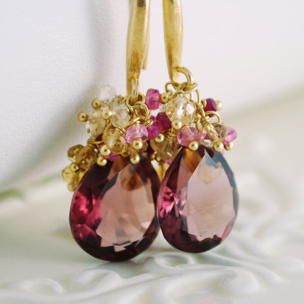 Plum Gemstone Earrings for Fall Weddings - Daylily