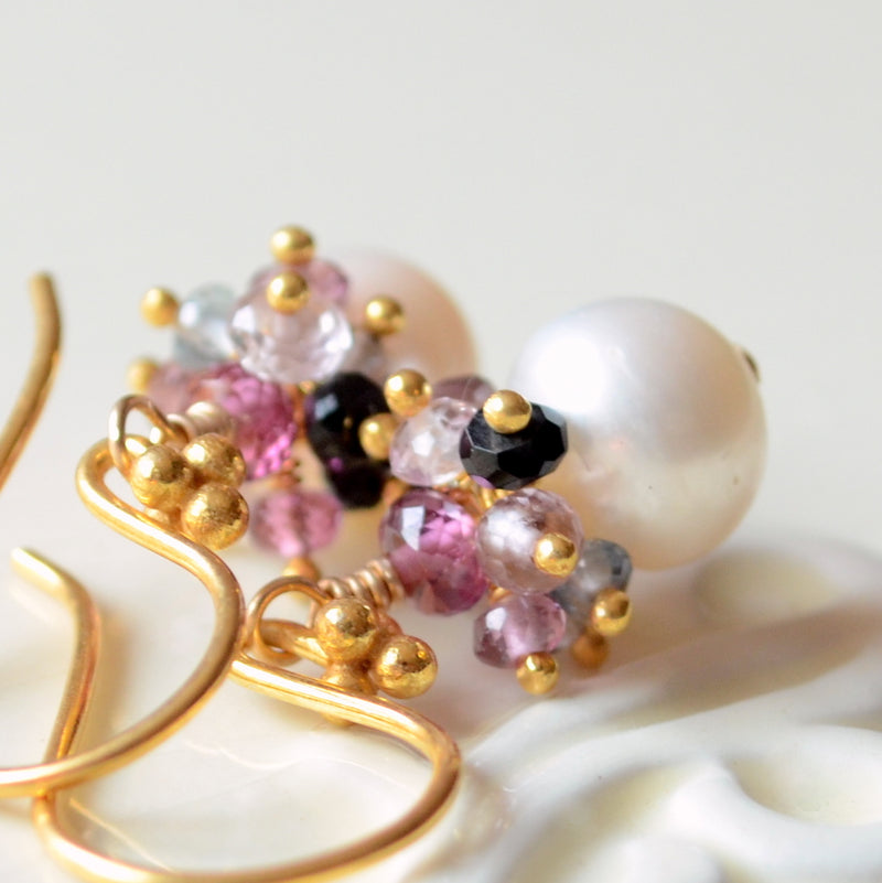White Pearl Earrings with Spinel Gemstone Clusters