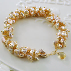 Champagne Pearl Cluster Bracelet - Champagne Bubbles