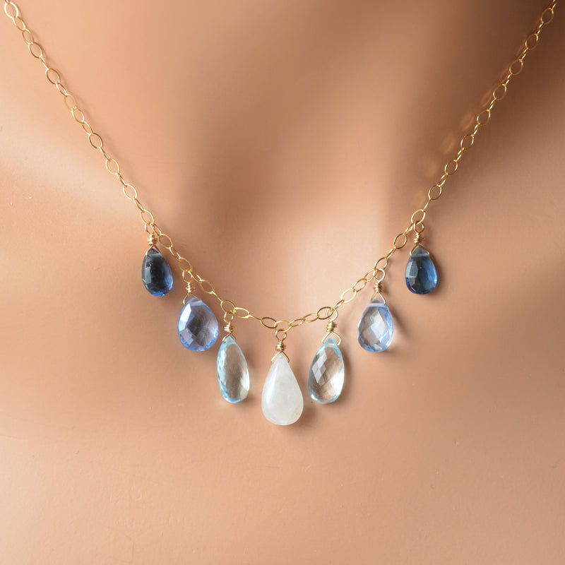 Blue Topaz and Moonstone Necklace in Gold with Quartz