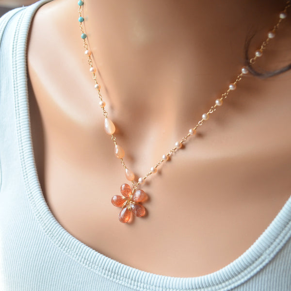 Sunstone Flower Necklace in Gold with Turquoise and Pearls