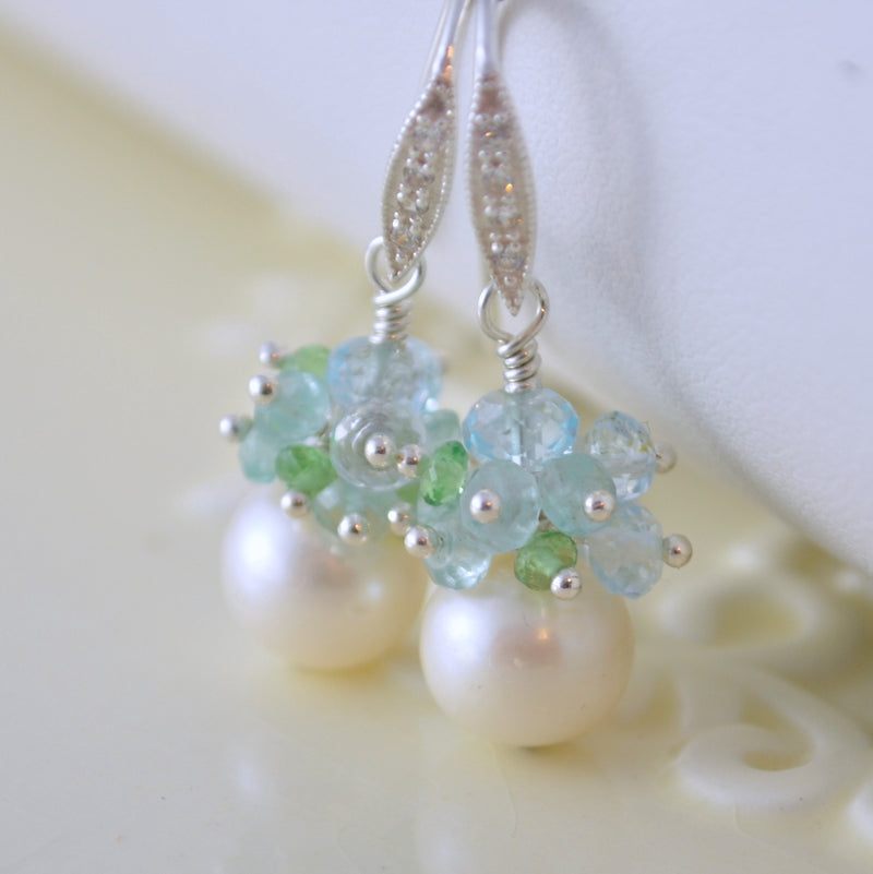 Pearl Bridal Earrings with Aquamarine and Blue Topaz - Shimmer