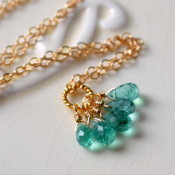 Genuine Emerald Necklace in Silver or Gold
