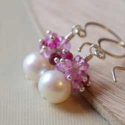 Real Ruby Earrings with Large Freshwater Pearls