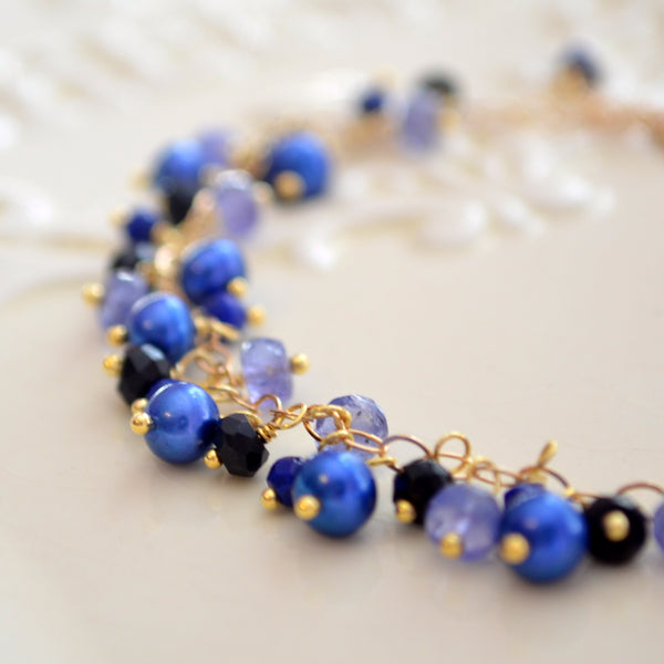 Royal Blue Cluster Bracelet with Pearls Tanzanite and Black Onyx
