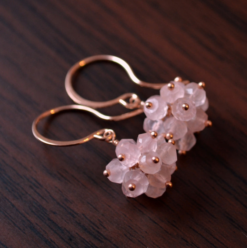 Rose Quartz Cluster Earrings in Rose Gold
