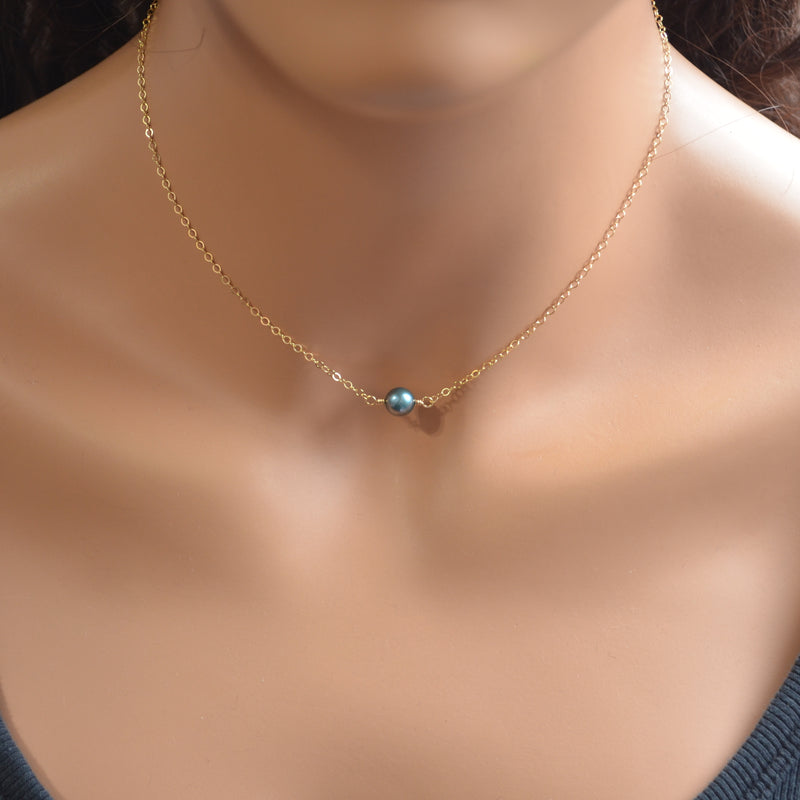 Teal Freshwater Pearl Choker Necklace in Gold