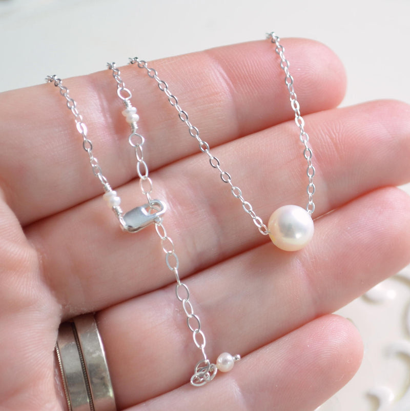 Floating Pearl Choker Necklace in Sterling Silver