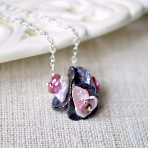 Keishi Pearl Cluster Necklace with Black Lavender and Plum