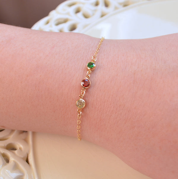 Dainty Cubic Zirconia Bracelet in Christmas Colours