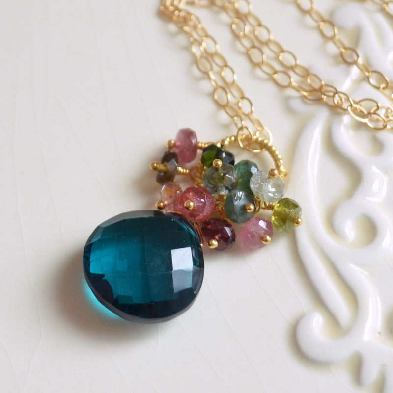 Teal Quartz Necklace with Tourmaline Cluster