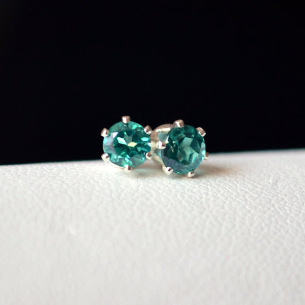 Green Topaz Stud Earrings
