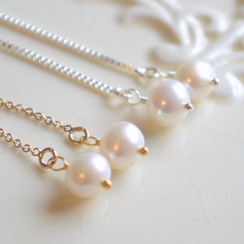 Design Your Own Pearl Threader Earrings - Round Pearls