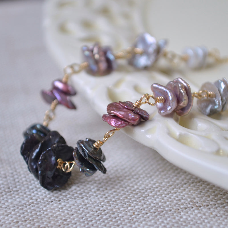 Keishi Pearl Necklace in Gold with Black and Lavender Pearls