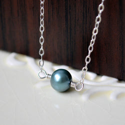 Single Freshwater Pearl Choker Necklace, Teal Green