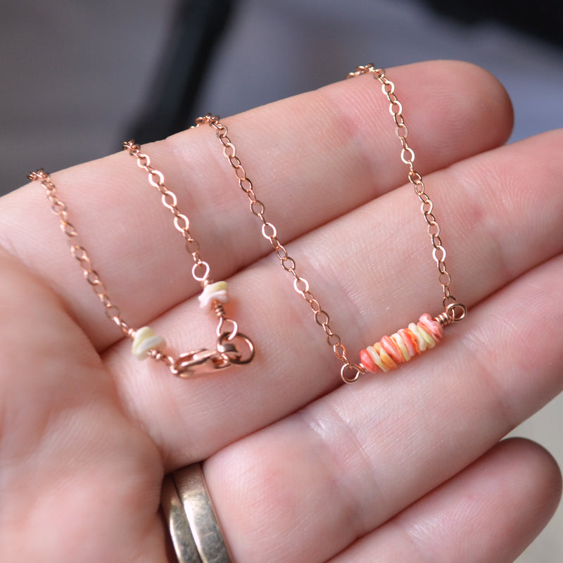 Peach Shell Choker Necklace