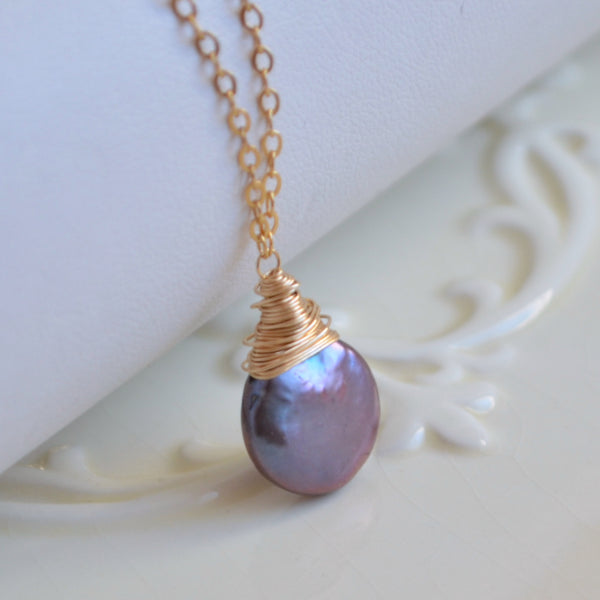 Peacock Coin Pearl Wire Wrapped Necklace