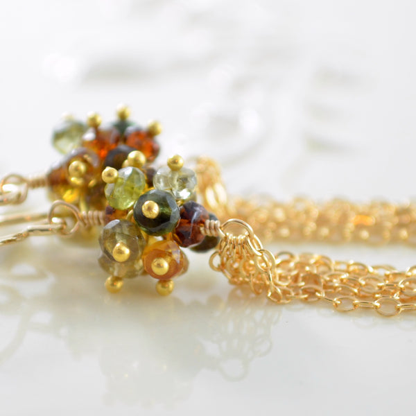 Petro Tourmaline Tassel Earrings in Gold or Silver