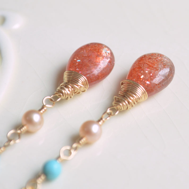 Sunstone Threader Earrings with Peach Pearls and Turquoise