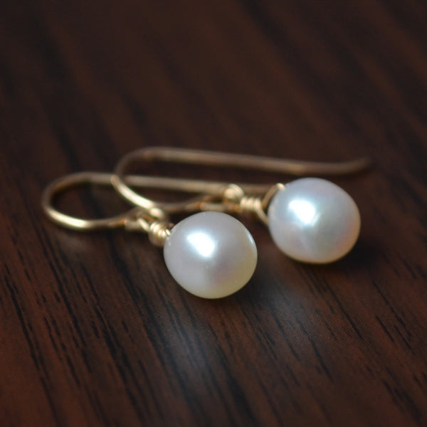 White Pearl Drop Earrings in Gold