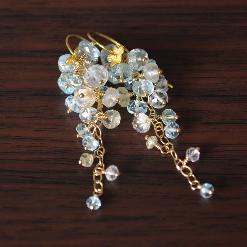 Long Aquamarine Cluster Earrings in Gold