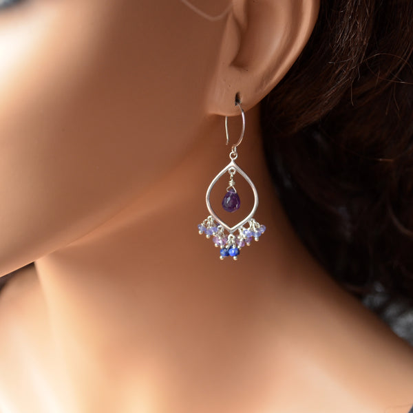 Amethyst Chandelier Earrings with Tanzanite in Sterling Silver