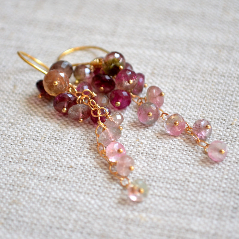 Watermelon Tourmaline Earrings in Gold or Silver