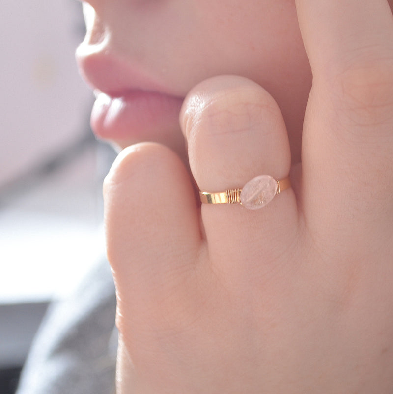 Peach Morganite Ring in Gold