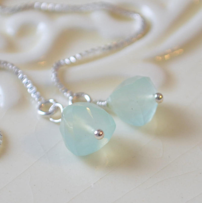 Aqua Chalcedony Threader Earrings in Silver