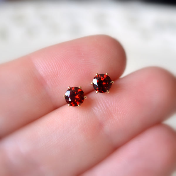 Garnet Stud Earrings in Gold