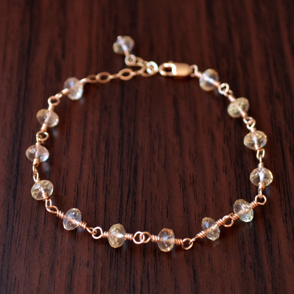 Real Citrine Bracelet in Gold for Teens