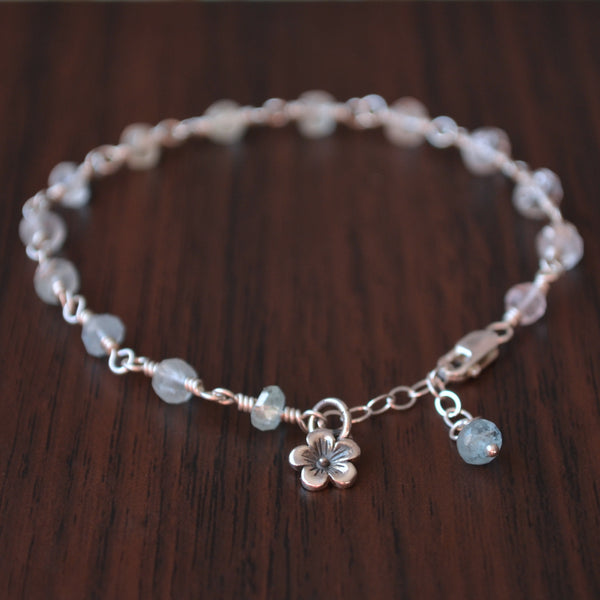 Aquamarine Bracelet in Silver for Girls