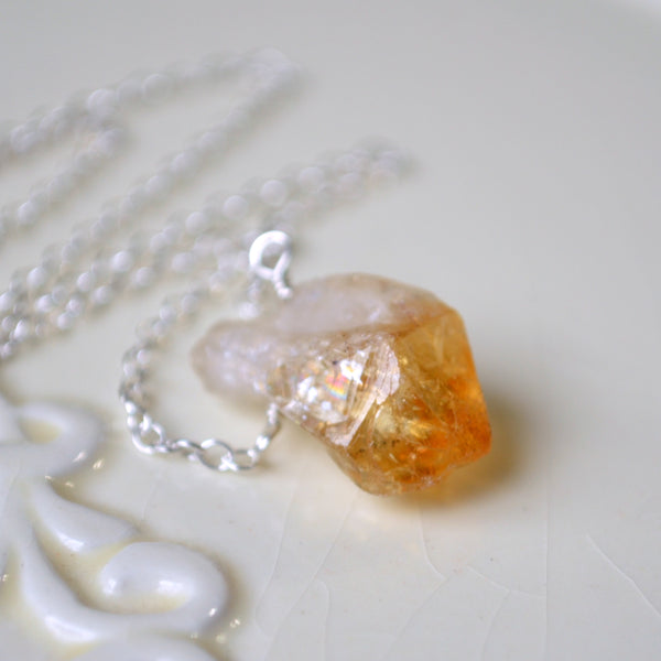 Simple Raw Citrine Necklace in Sterling Silver