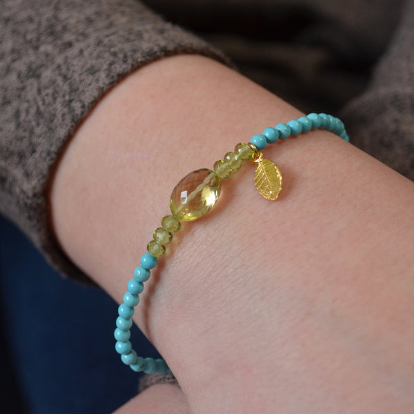 Summer Stretch Bracelet with Turquoise and Lemon Quartz