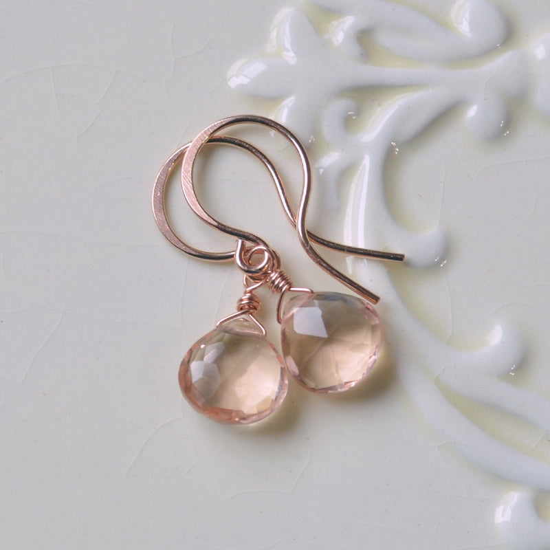 Champagne Quartz Drop Earrings in Rose Gold