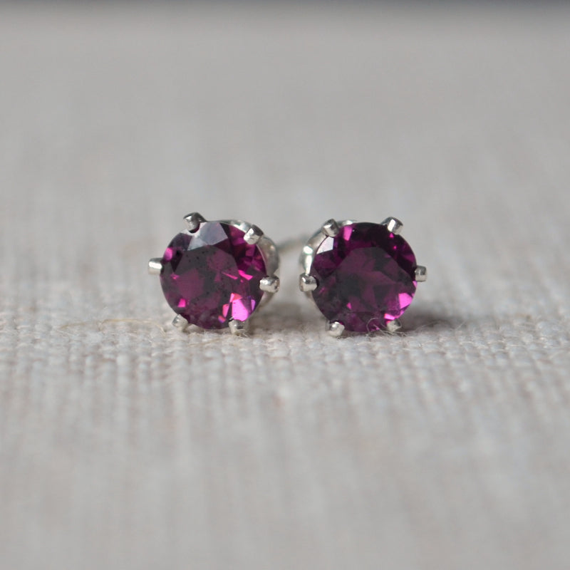 Rhodolite Garnet Stud Earrings