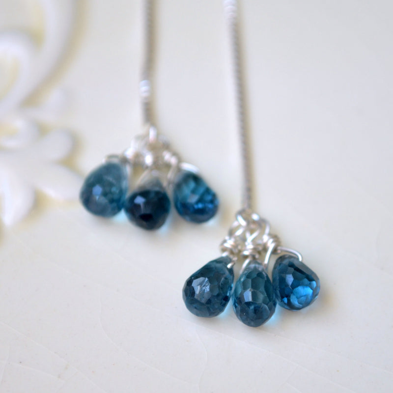 London Blue Topaz Threader Earrings