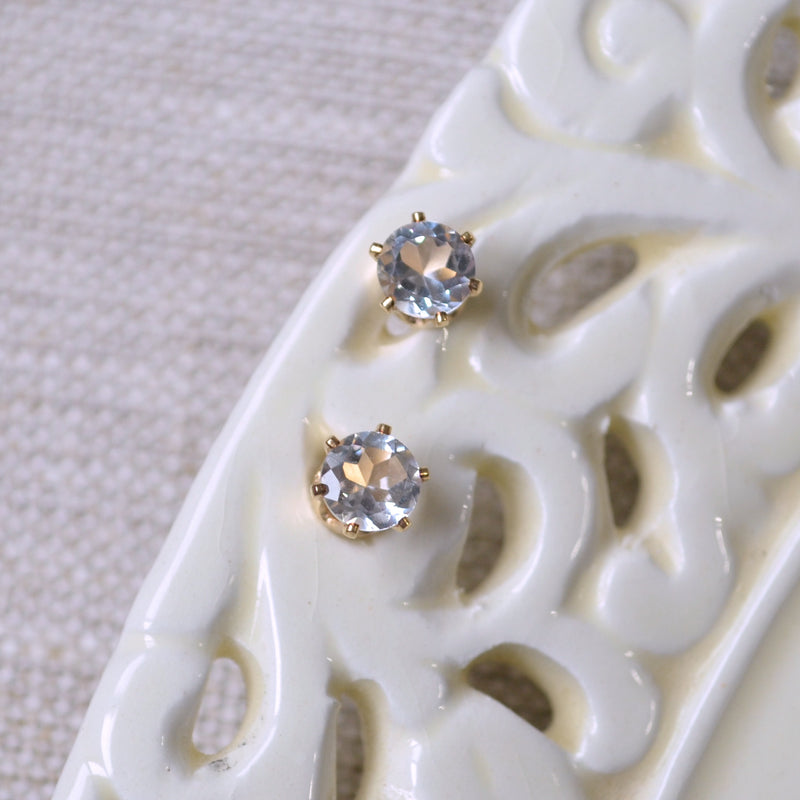 White Topaz Stud Earrings in Gold