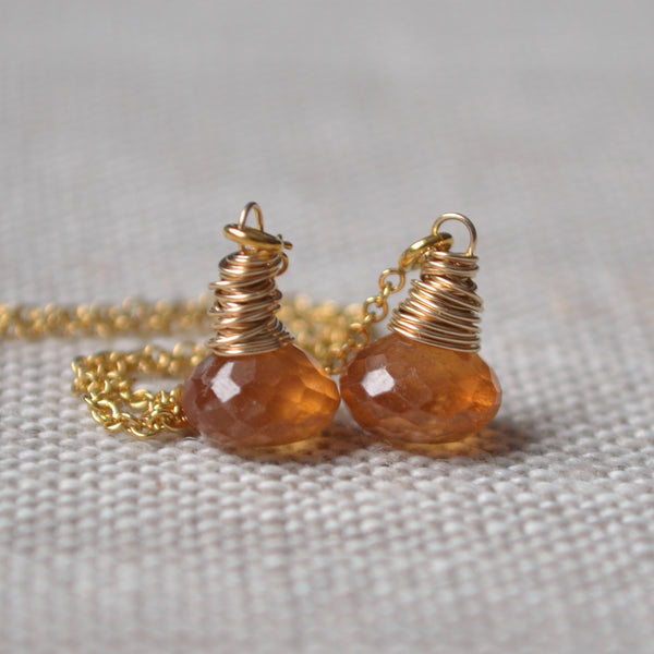 Orange Hessonite Garnet Threader Earrings