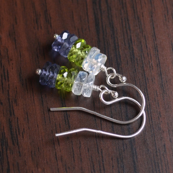 Moonstone Peridot and Iolite Drop Earrings