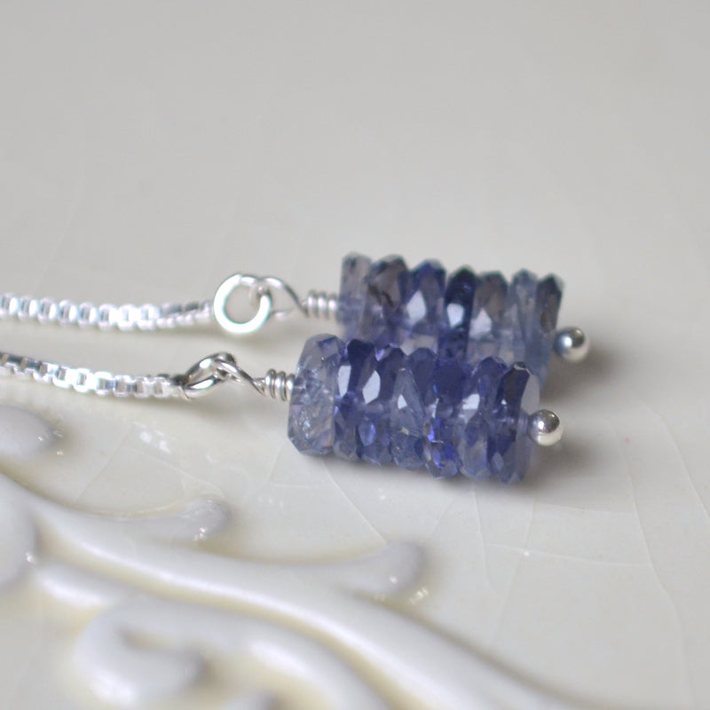 Navy Iolite Threader Earrings in Sterling Silver