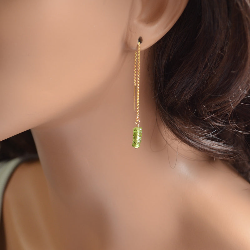 Peridot Threader Earrings in Gold
