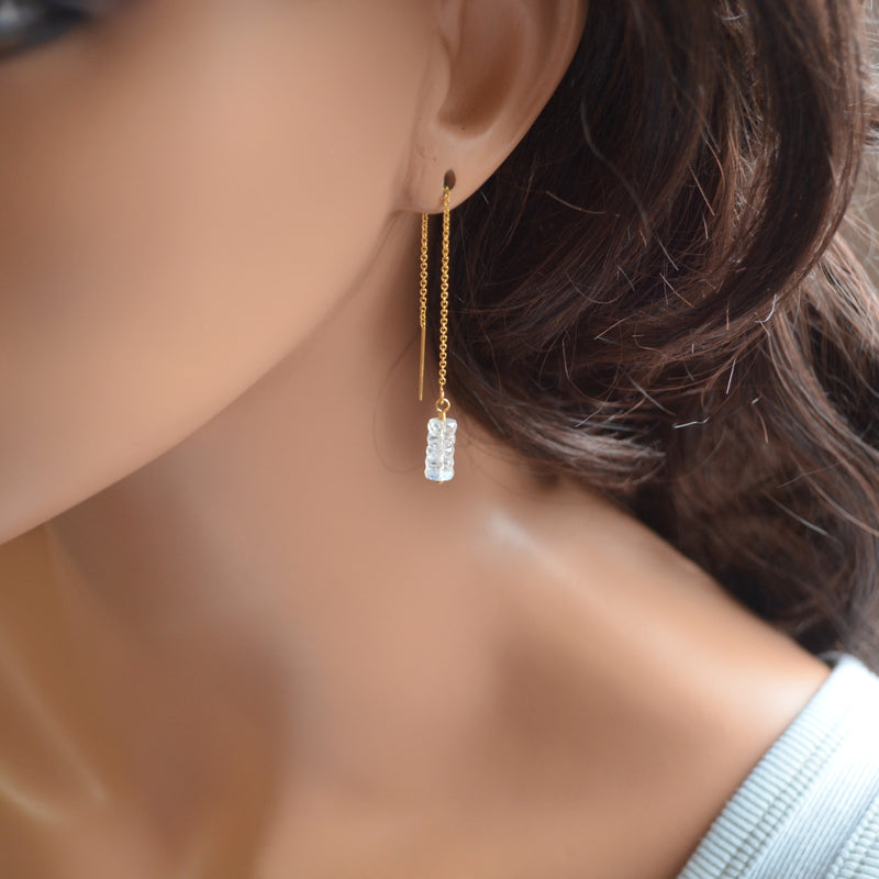 Moonstone Threader Earrings in Gold