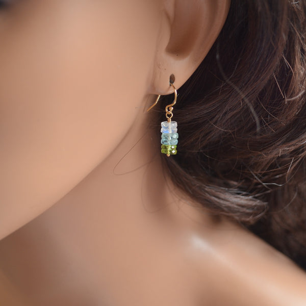 Gemstone Drop Earrings with Aquamarine and Peridot